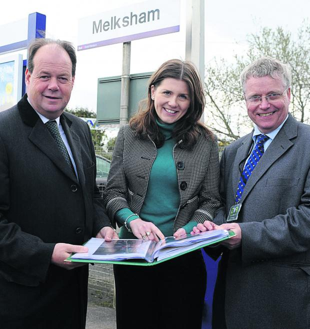 This Is Wiltshire: Railway minister Stephen Hammond, Michelle Donelan, Conservative parliamentary candidate for Chippenham, and Sion Bretton, chairman of TransWilts Community Rail Partnership