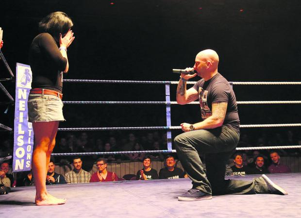 This Is Wiltshire: Paul Bunney proposed to girlfriend Dani Nash at a boxing event in Swindon at the weekend