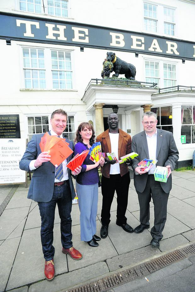 This Is Wiltshire: From left, Andy Trusler, Angela McClachlan from the Bear Hotel, Sainey Camara and David Court