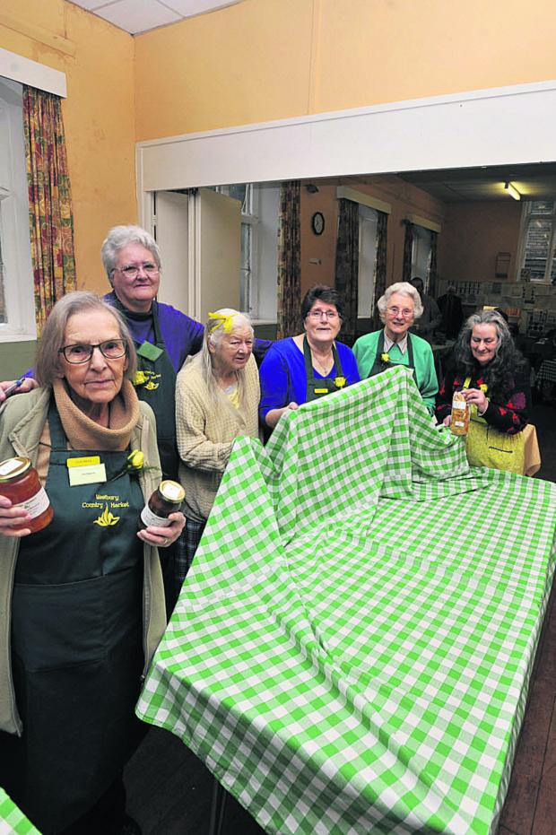 This Is Wiltshire: At the last market day are, from left, chairman Pam Begernie,  Lyn McGill, Stella Burfitt, controller Mary Kneen, Cynthia Hogbin and Meirwen Button