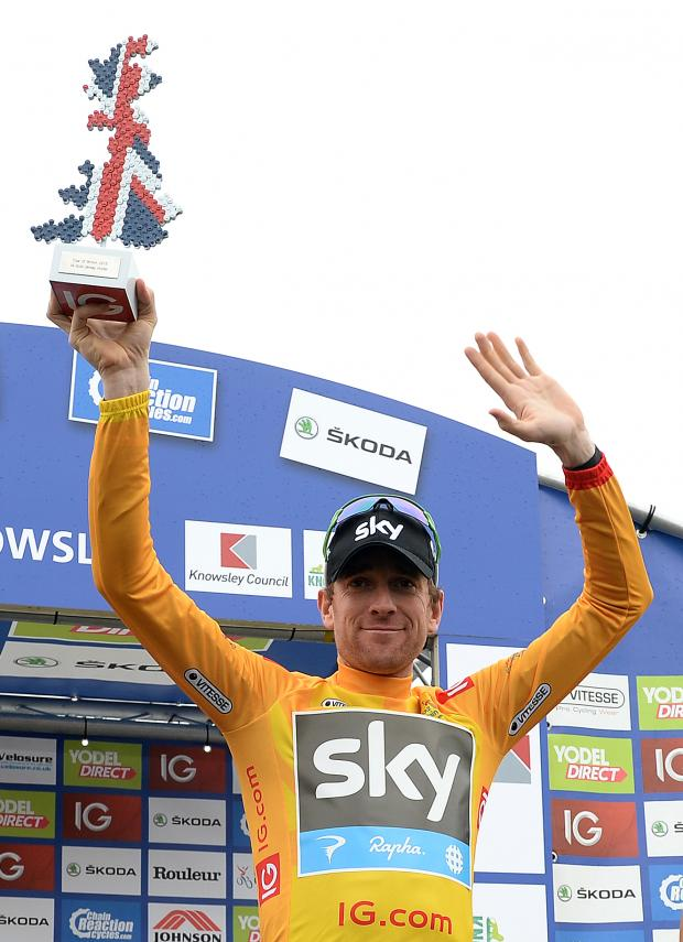 This Is Wiltshire: Sir Bradley Wiggins celebrates his Tour of Britain victory last year