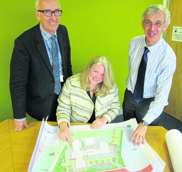 This Is Wiltshire: Jane Leo, the headteacher of the  new school at Tadpole Farm pictured with, left, John Swainston, the diocesan director of education and CEO of the Diocese of Bristol's Academies' Trust and Andrew Wild, the senior effectiveness officer at the Diocese