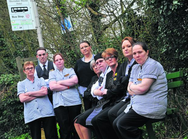 This Is Wiltshire: Staff at Blunsdon House Hotel are up in arms about the cancellation of the bus service. From left, Gayle Crockett, Ben Walters, Annette Taylor, Iwona Zolopa, Val Dunbar, Ruth Fitchett, Emma Walters, Kelly Walford and Julie Northall