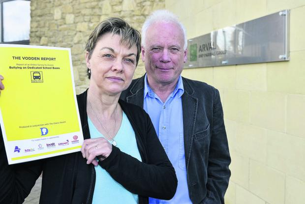This Is Wiltshire: Caroline and Paul Vodden, who are leading the new campaign to stop bullying on school buses