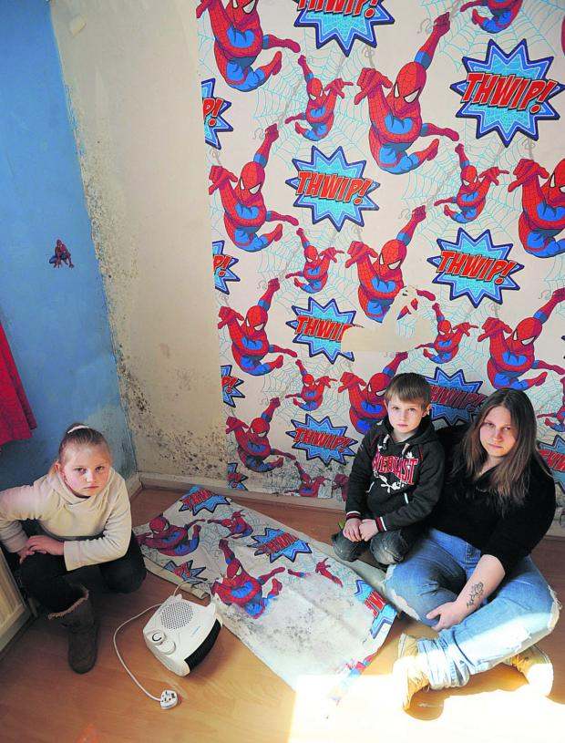 This Is Wiltshire: Hayley Edwards with her children Crystal, eight and Connor, seven, in the damp bedroom. The children have been suffering from health complaints since moving to Malmesbury.