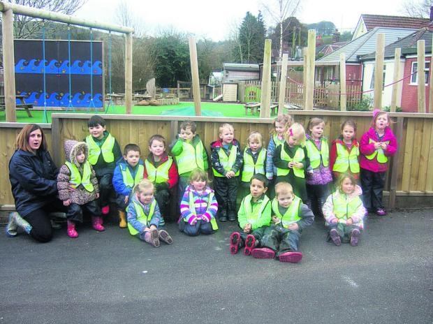 This Is Wiltshire: Youngsters from Heddington Pre-school went on a sponsored welly walk