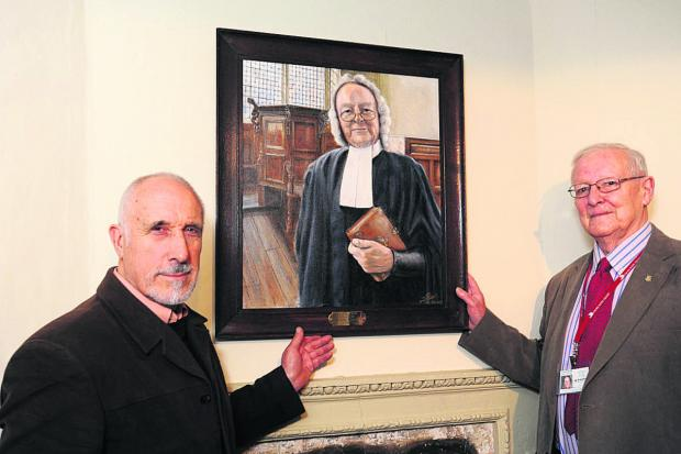 This Is Wiltshire: Artist Les Benson, left, with Corsham Almshouse guide Peter King         (TP48535) By TREVOR PORTER