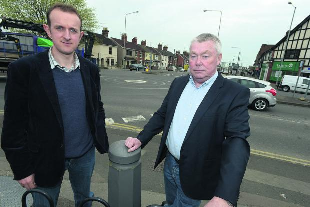 This Is Wiltshire: Coun Mark Dempsey and Joe Tray at the Moonrakers roundabout