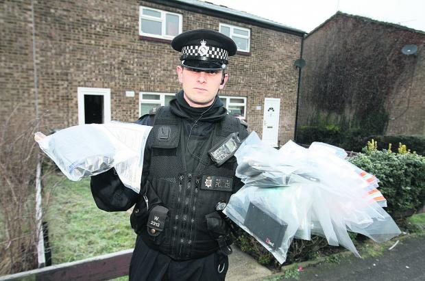 This Is Wiltshire: PC Tom Turner on a drugs bust in Toothill last year