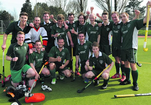 This Is Wiltshire: West Wilts men celebrate their promotion after victory over Marlborough last Saturday