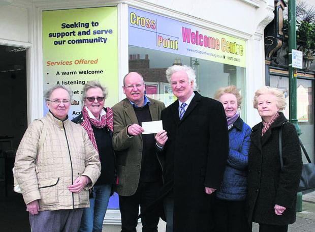This Is Wiltshire: Westbury League of Friends presents a cheque to Westbury Crosspoint. Pictured are Kathryn Cundrick, Erica Watson, Dai Davies, Peter Baker, Sheila Stafford and Shirley Baker