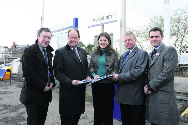 This Is Wiltshire: Station manager Nicholas Reid, left, Stephen Hammond Parliamentary Under Secretary of State for Transport, Michelle Donelan, Sion Brettion and Rob Mullen at Melksham station