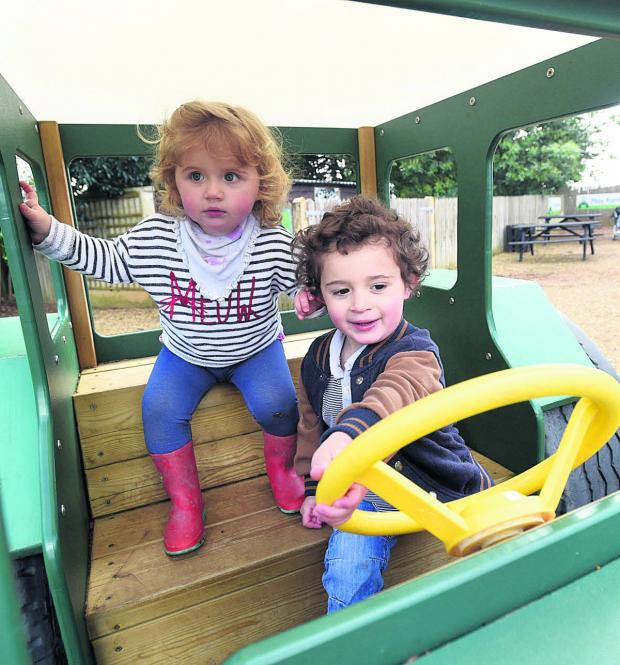 This Is Wiltshire: Willow and Phoenix Hastings enjoy time on Tractor Ted