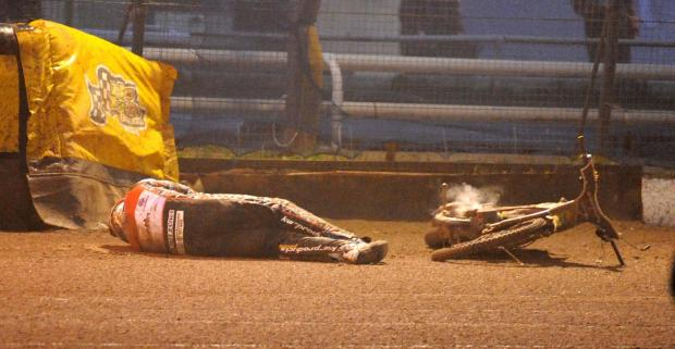 This Is Wiltshire: Swindon Robins rider Darryl Ritching after his crash last night