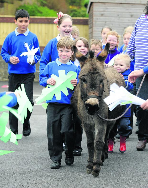 This Is Wiltshire: Pupils at Heddington lead out the donkey