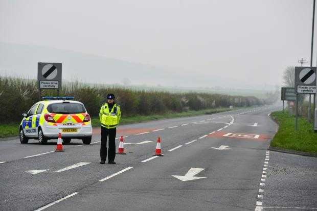 This Is Wiltshire: Police closed off the road to Marlborough at Chiseldon