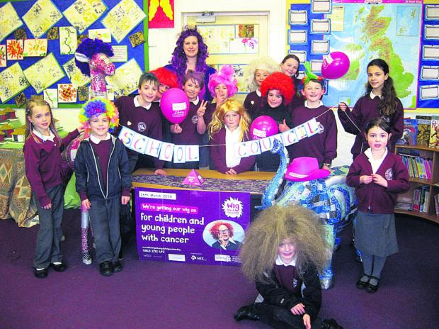 This Is Wiltshire: Children at Rushall Primary School sport colourful wigs to raise money for charity