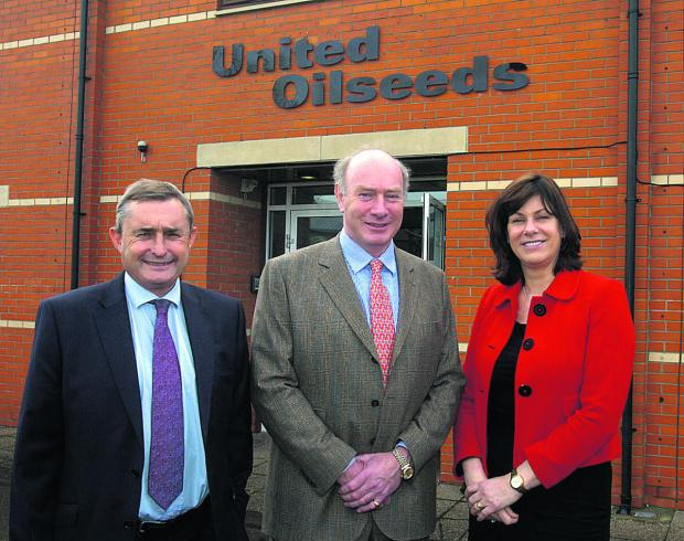 This Is Wiltshire: United Oilseeds' new headquarters. From left are managing director Chris Baldwin, chairman John Elliot and Devizes MP Claire Perry                                      (PM1104) By PAUL MORRIS