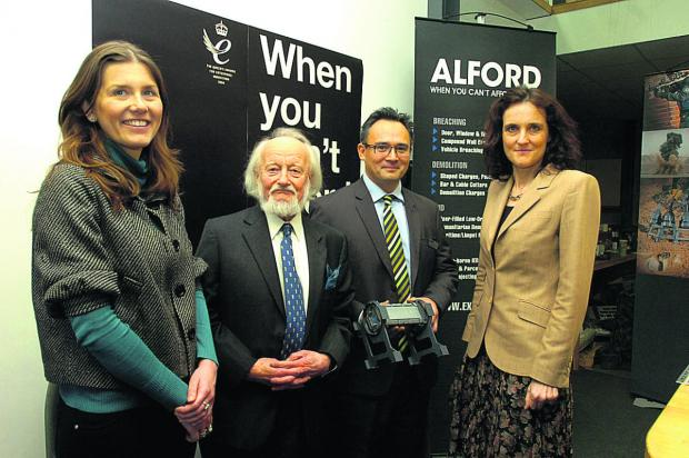 This Is Wiltshire: From left, Michelle Donelan, Sidney Alford, Rowland Alford, and Northern Ireland minister Theresa Villiers on her visit                                                                                       (PM1146) BY PAUL MORRIS
