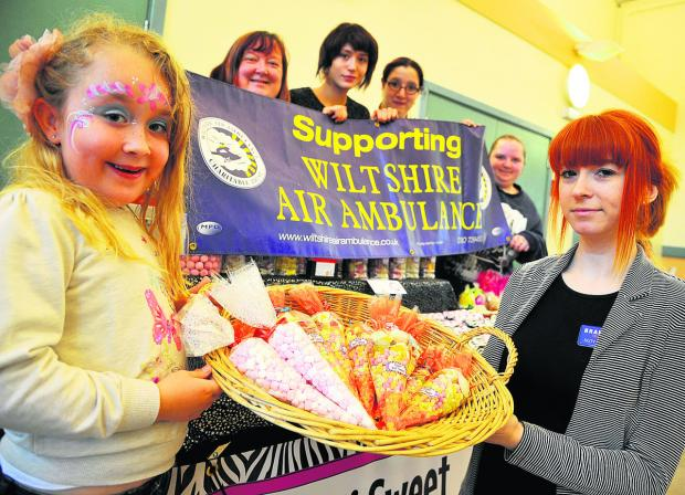 This Is Wiltshire: Gracie, Lisa Stevens, Katie Herrington, Victoria Harper, Sophie Curtis and Aimee Lang raising money at Gorse Hill Baptist Church    	Pictures: DAVE COX n Buy this picture at www.swindonadvertiser.co.uk