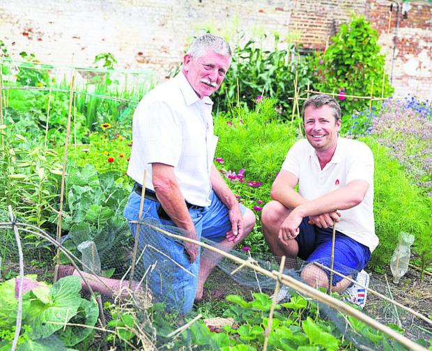 This Is Wiltshire: Alex Lomax and Ed Bond on their plot as they take part in the BBC's The Big Allotment Challenge