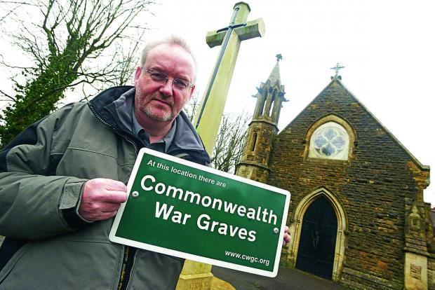 This Is Wiltshire: Andy Knowles of the Commonwealth War Graves Commission at the cemetery in Kingshill