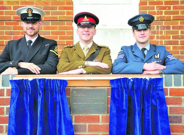 This Is Wiltshire: From left students Frazer Downer, Paul Sowton, Neil Gilbert at the opening of the new Defence Centre Of Languages And Culture at the Defence Academy, Shrivenham
