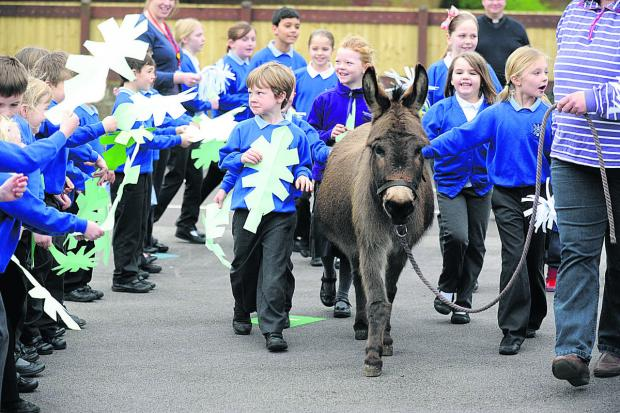 This Is Wiltshire: Pupils at Heddington School celebrate Easter with a visit from Francis the donkey (DV1212)