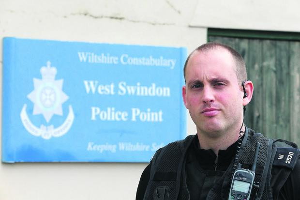 This Is Wiltshire: PC Gary Bracey pictured at West Swindon Police Point