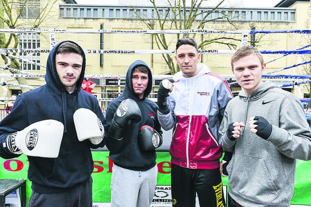 This Is Wiltshire: Horseshoe Amateur and Professional boxing club showed they had a lot of clout by staging a demonstration in the town centre. From, are Ryan Martin, Danny Carter, Kelvin Young and Andy Harris