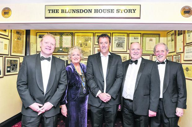 This Is Wiltshire: From left, at Swindon Rotary Club charity sports dinner MC Phil King, the President of Old Town Rotary Club Melody Beeves, speaker Matt Le Tissier, comedian Bob Webb and  Randy Burden
