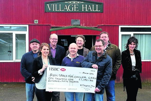 This Is Wiltshire: From left: Lee Mitchener, Laura Pearce (The Forever Friends Appeal), Eric Anderson, Simon Filipowicz, Chris Uniacke, Steve Meggs, Jonathan Bardon and Sally Edmonds