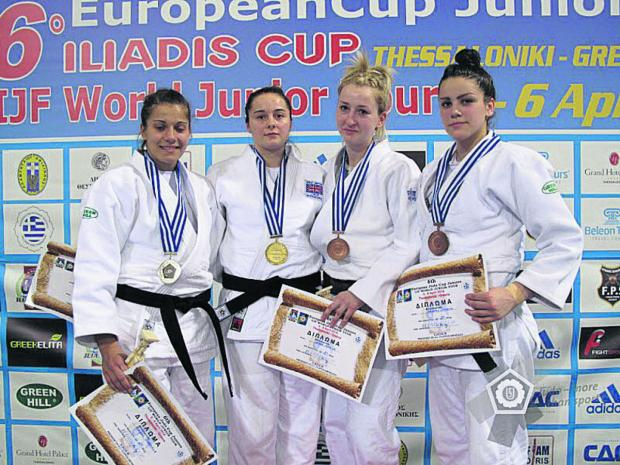 This Is Wiltshire: Jemima Duxberr (second from left) with her European Junior Cup gold