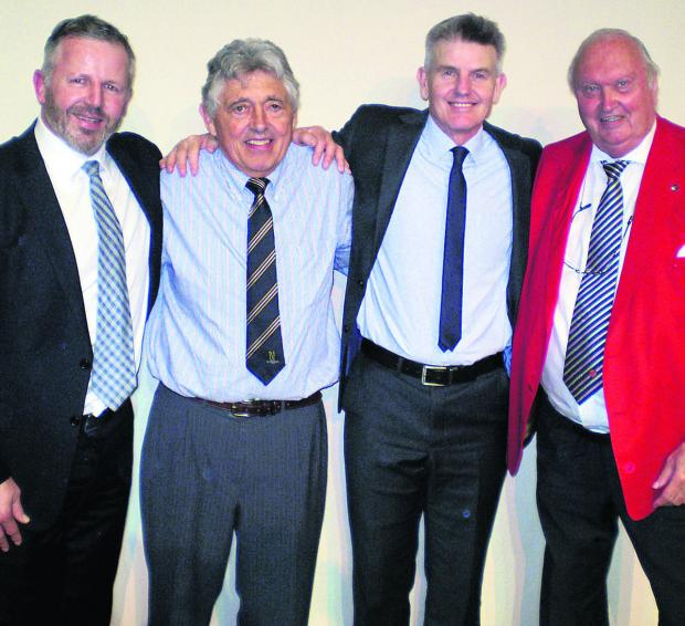 This Is Wiltshire: United through a love of sport are, from left, Sean Fitzpatrick, Ed Davies, Peter Bowler and MC Roger Dakin