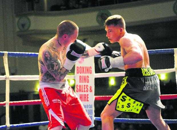 This Is Wiltshire: Nick Blackwell, pictured in action as he eased to a points victory over Terry Carruthers
