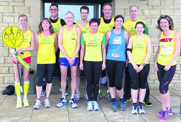 This Is Wiltshire: Avon Valley Runners heading to the London Marathon are, back (l-r): Robin Mark Schols, Tim Lowrie, Richard Newman and Kevin Bush; front: Fiona Price, Jackie Rockliffe, Frank Lamerton, Juliet Coulson, Louise Fearon, Kate Coney and Jilly Moore
