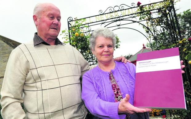 This Is Wiltshire: Stan and Margaret Godwin with the Hillsborough report