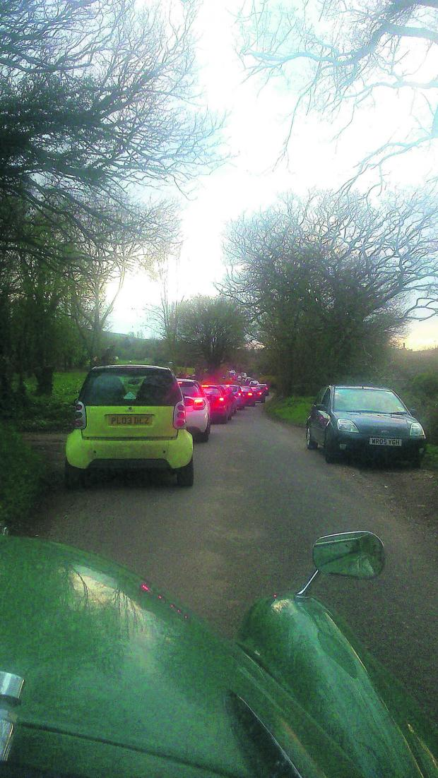 This Is Wiltshire: A bird's eye view of the queues from Manton to Lockeridge PICTURE: Caroline Baker