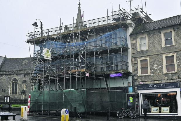 This Is Wiltshire: The scruffy looking scaffolding and security netting is to be dismantled next week, say the agents
