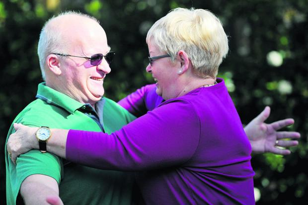 This Is Wiltshire: Derek Maguire and his sister Marie Withers met for the first time on Tuesday