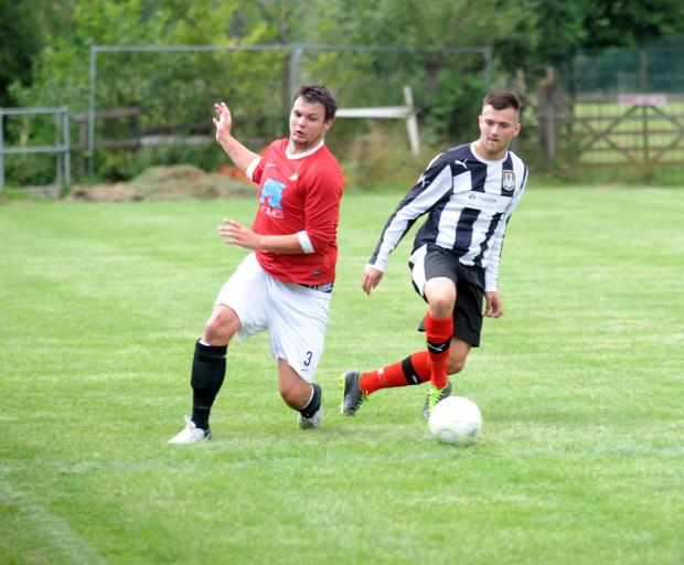 This Is Wiltshire: Chris Jackson (right) was on target as Malmesbury Victoria beat Fairford Town last weekend
