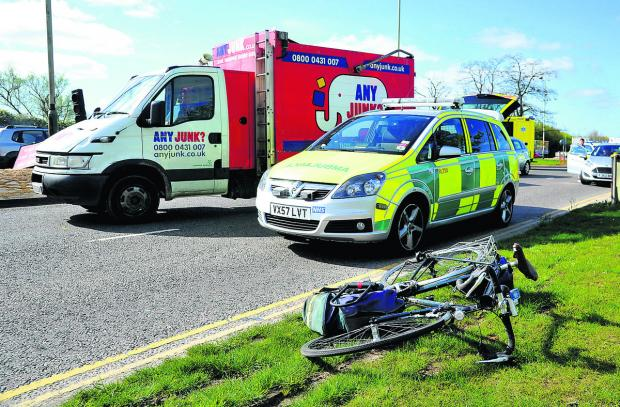 This Is Wiltshire: The man's bicycle lies at the scene of the incident near Barnfield