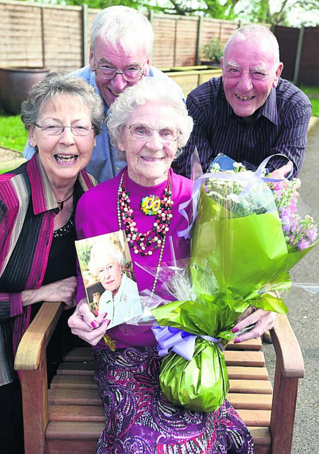 This Is Wiltshire: Mabel Humphries celebrates her 100th birthday at Avon Court, Chippenham, with daughter Kay Barnett, Roy and Dave Humphries