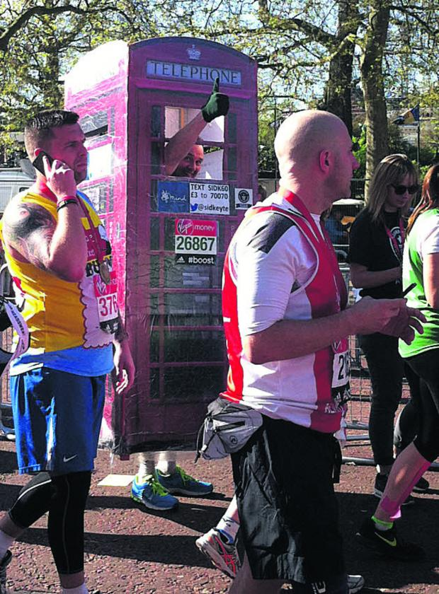 This Is Wiltshire: Sid Keyte ran the London Marathon as a telephone box for the charity Mind