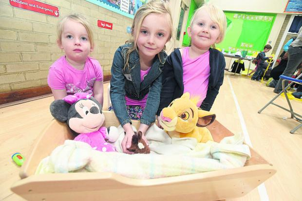 This Is Wiltshire: Lily Pietralczyk, Charley and Harriet Makepiece have fun at Barnardo's Sure Start Children's Centre, Calne