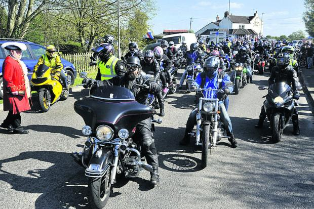 This Is Wiltshire: The annual Nick Wynne memorial bikers' toy run to Bristol Children's Hospital on Sunday gets underway from the Kings Arms pub in Hilperton.