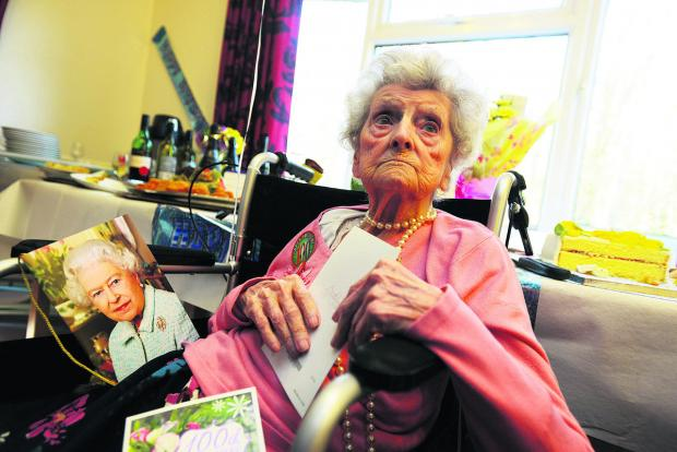 This Is Wiltshire: Iris Boulton, pictured on her 100th birthday