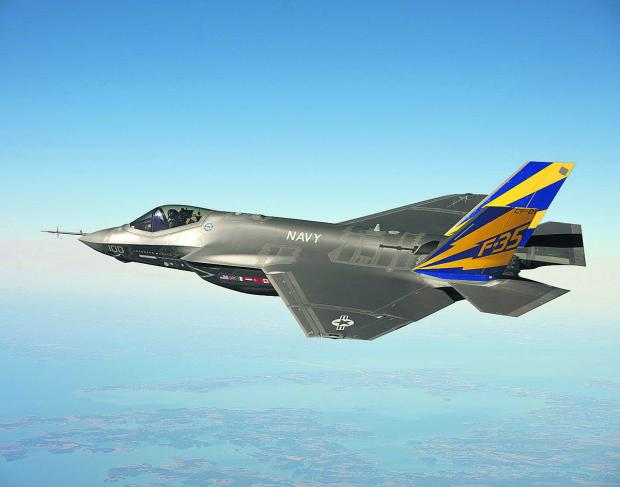 This Is Wiltshire: The F-35 Lightning II which will make its international debut in July at the Royal International Air Tattoo in Fairford and will also fly at the Farnborough International Air Show