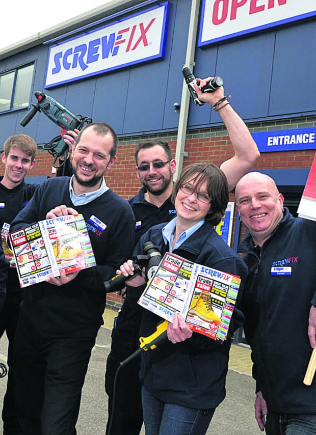 This Is Wiltshire: Staff prepare for the opening of a Screwfix DIY store on Hopton Park industrial estate next week which will create 13 jobs