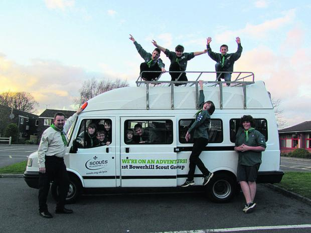 This Is Wiltshire: Bowerhill Scouts celebrate the arrival of their new minibus, which they will use for outings and adventure